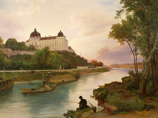 Fisherman by the Danube River near Klosterneuburg Monastery, by Ignaz Raffalt (1800-1857), Austria 19th Century. : Stock Photo