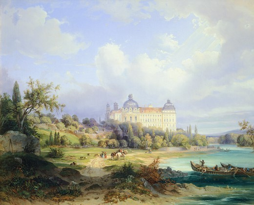 Stock Photo: 1788-37701 Klosterneuburg Monastery on the Danube River, by Ignaz Raffalt (1800-1857), Austria 19th Century.