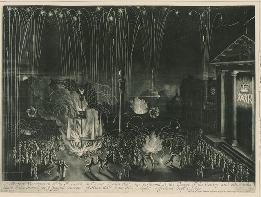 Stock Photo: 1788-37706 Fireworks at Convent Garden, London, on the occasion of William III returns after the conquest of Ireland, 10 September 1690, England 17th century.