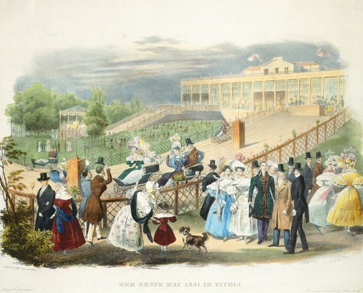 Stock Photo: 1788-37730 Wheelchairs Race at Tivoli Pavilion at Schoenbrunn, 1831, Austria 19th Century.