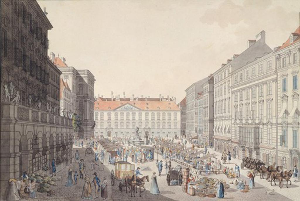 Vienna Neumarkt (New Market), Austria 18th Century. : Stock Photo