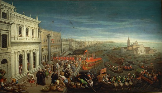 Stock Photo: 1788-37779 Leandro Bassano (1557-1622). The banks of the Schiavoni in Venice.