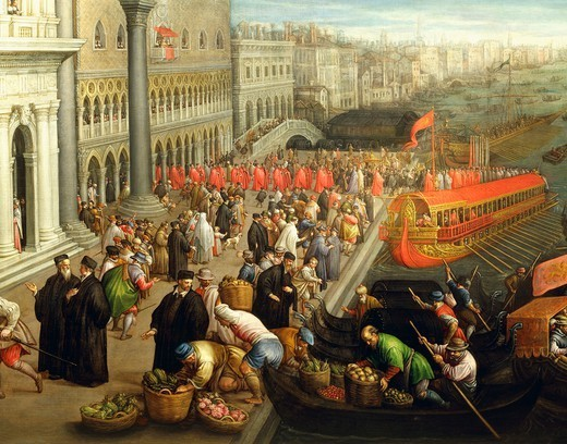 Stock Photo: 1788-37780 Leandro Bassano (1557-1622). The banks of the Schiavoni in Venice. Details.