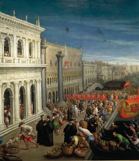 Stock Photo: 1788-37781 Leandro Bassano (1557-1622). The banks of the Schiavoni in Venice. Details.
