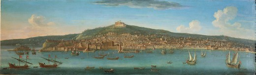 Orazio Grevenbroeck (1670-1743). View of Naples from the sea. : Stock Photo