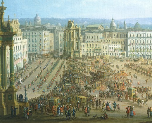 The festival of the four altars in Naples, ca 1757, by Antonio Joli (1700-1777), Italy 18th century, detail. : Stock Photo