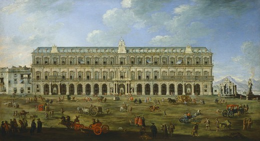 Stock Photo: 1788-37821 The Royal Palace in Naples, by Angelo Maria Costa (1670-1721), oil on canvas, Italy 17th-18th century.