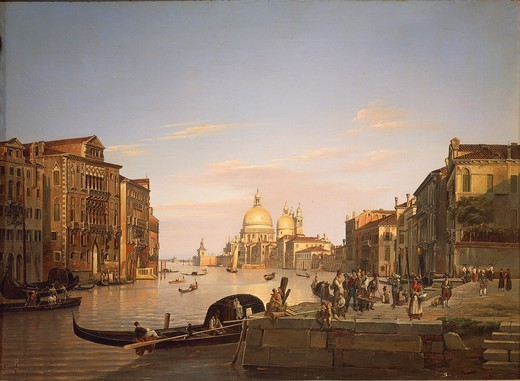 Stock Photo: 1788-37948 Francesco Vervloet (1796-1872). The Grand Canal in Venice, 1838. In the background the Basilica of Santa Maria della Salute (Basilica of St. Mary of Health).