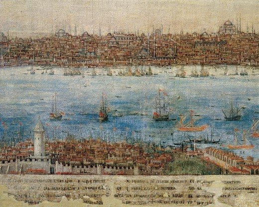 Stock Photo: 1788-37961 Turkey, 17th Century. View of Constantinople. In the bottom left the Galata Tower.