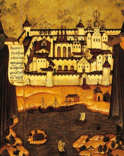 Russia, 17th century. The fortified city of Solovki on the White Sea. Detail on the panel of the Saints Sabazio and Zosima. : Stock Photo