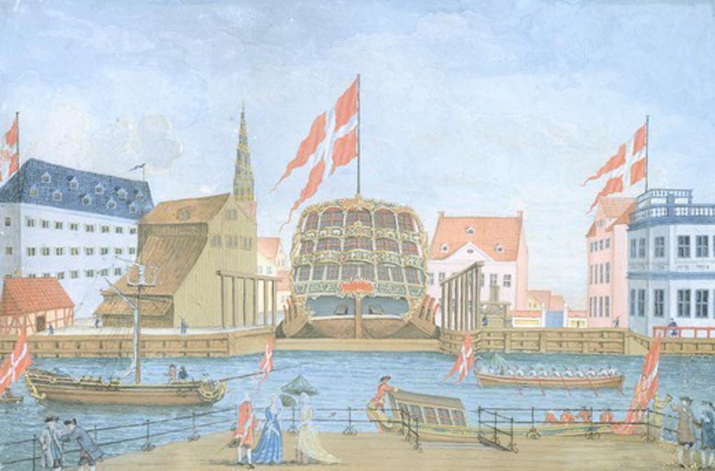 Henrik Gerner shipyards in Christianshavn near Copenaghen, 1750, Denmark 18th Century. Watercolour. : Stock Photo
