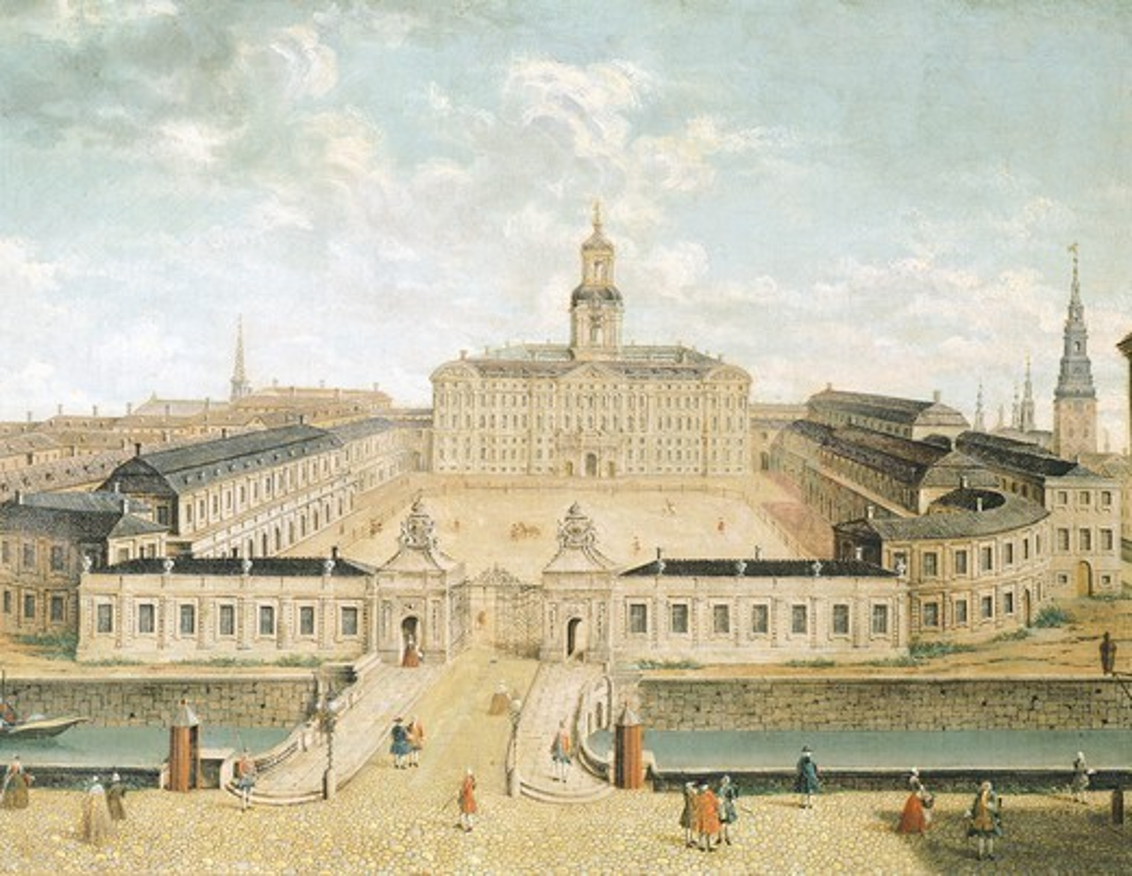 Stock Photo: 1788-38000 Christianborg Castle in Copenaghen, Denmark 18th Century.