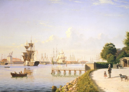 Stock Photo: 1788-38002 The port of Copenaghen, 1861, by Christian Eckardt, Denmark 19th Century.