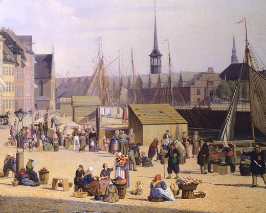 Trade life at the port of Copenaghen, 1844, by Sally Henriques, Denmark 19th Century. Detail. : Stock Photo