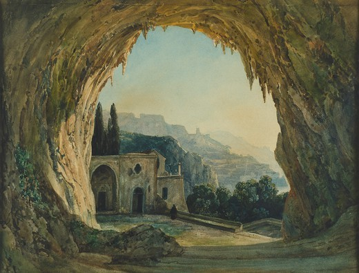 The cave of the Capuchins in Amalfi, Italy 18th century. : Stock Photo