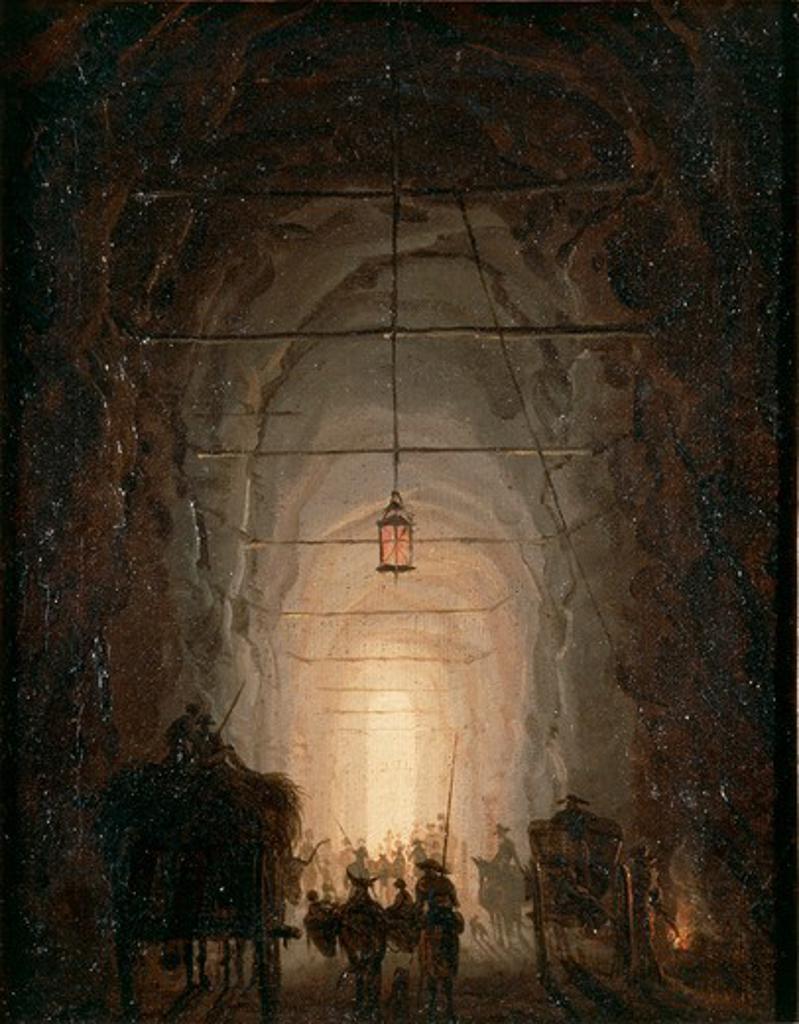 Robert Hubert (1733-1808). Posillipo Cave (Naples) : Stock Photo