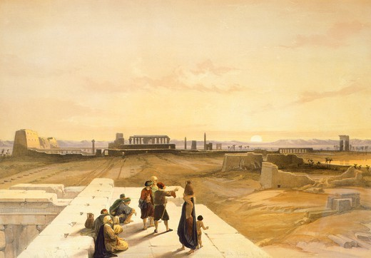 Karnak ruins, 1848, by David Roberts, Egypt 19th Century. Engraving. : Stock Photo