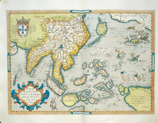 Cartography, 16th century. Map of the Indies, from Theatrum Orbis Terrarum by Abraham Ortelius (1528-1598), Antwerp, 1570. : Stock Photo