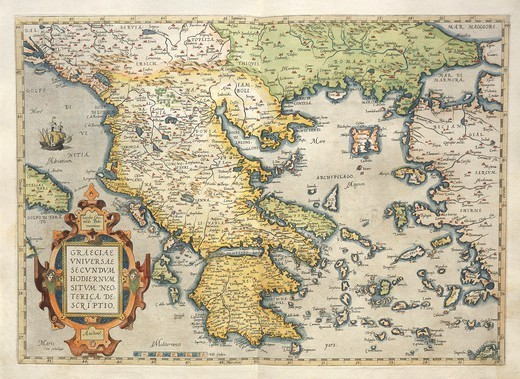 Stock Photo: 1788-38177 Cartography, 16th century. Map of Greece, from Theatrum Orbis Terrarum by Abraham Ortelius (1528-1598), Antwerp, 1570.