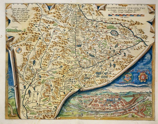 Cartography, Austria, 16th century. Map of Salzburg diocese, from Theatrum Orbis Terrarum by Abraham Ortelius (1528-1598), Antwerp, 1570. : Stock Photo