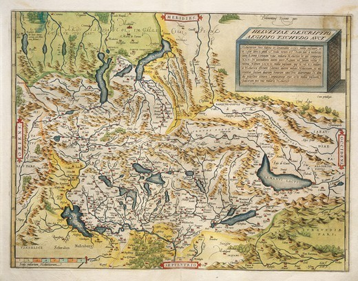 Stock Photo: 1788-38184 Cartography, 16th century. Map of Switzerland, from Theatrum Orbis Terrarum by Abraham Ortelius (1528-1598), Antwerp, 1570.