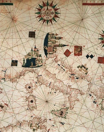 Cartography, 16th century. Nautical chart of the Mediterranean and Black Sea by Banet Panades, 1557. Detail. : Stock Photo