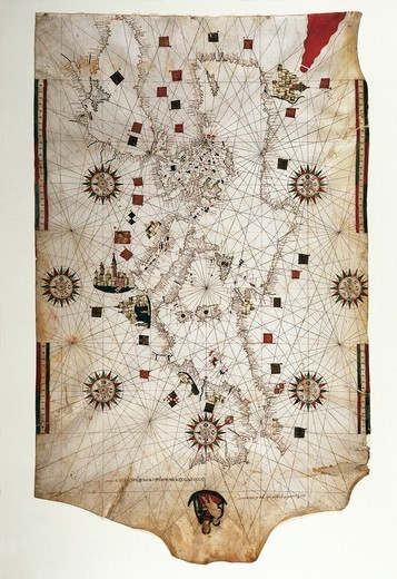 Stock Photo: 1788-38199 Cartography, 16th century. Nautical chart of the Mediterranean and Black Sea by Banet Panades, 1557.