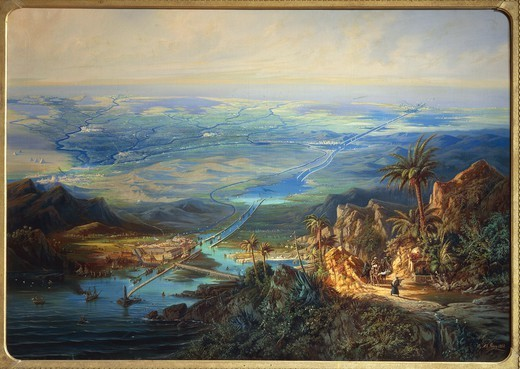 Stock Photo: 1788-38201 Albert Rieger (1832-1905). View of the Suez Canal. Oil on canvas, 127x180 cm. Details.