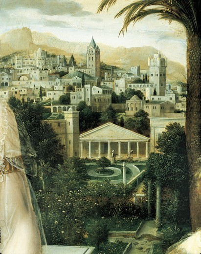 Jan Massys (1509-1575 ca.). David and Bathsheba. Details with a view of Jerusalem. : Stock Photo
