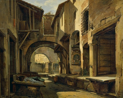 The Portico of Octavia in Rome, ca 1840, Giovanni Faure (1806-1840), oil on board, Italy 19th Century, 53x42 cm. : Stock Photo