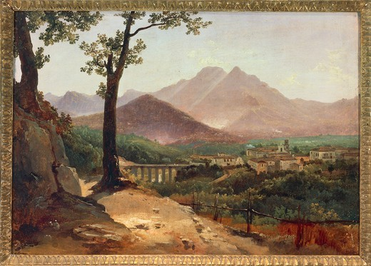 Anton Smink van Pitloo (1790-1837). View of Cava dei Tirreni, (Salerno) from Rotolo, 1826-1837. Oil on canvas. : Stock Photo