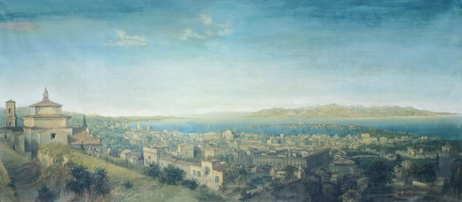 Panorama of the city and the strait of Messina, 1858, by Carlo Bossoli (1815-1884), tempera on canvas, Italy 19th Century. : Stock Photo