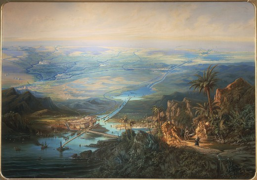 Albert Rieger (1832-1905). View of the Suez Canal. Oil on canvas, 127x180 cm. : Stock Photo