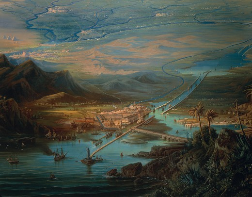 Albert Rieger (1832-1905). View of the Suez Canal. Oil on canvas, 127x180 cm. Detail. : Stock Photo