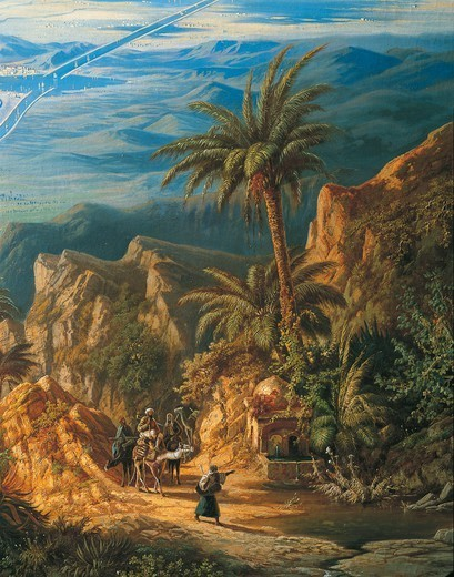 Stock Photo: 1788-38454 Albert Rieger (1832-1905). View of the Suez Canal. Oil on canvas, 127x180 cm. Detail: Caravans and Palm Trees.