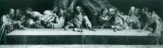 The Last Supper (engraving number 3379), by Pierre Soutman, taken from the works of Leonardo da Vinci, engraving, 17th Century. : Stock Photo