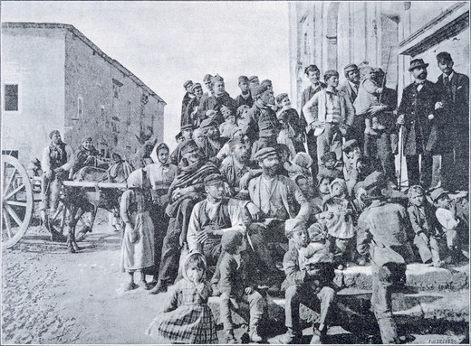 People in the street in Campobello, Sicily, 1894, Italy 19th Century. : Stock Photo