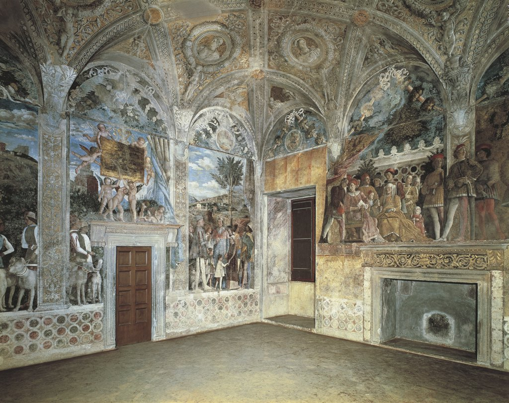Close-up of paintings on the wall of a palace, Ducal Palace, Mantua, Lombardy, Italy : Stock Photo