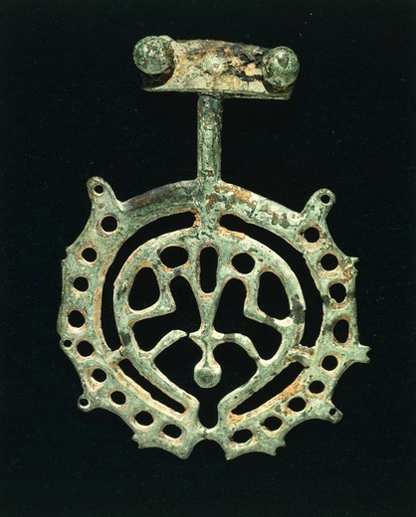 Prehistory, Italy, Bronze Age. Anthropomorphic votive bronze figure. From Umbria Region. : Stock Photo