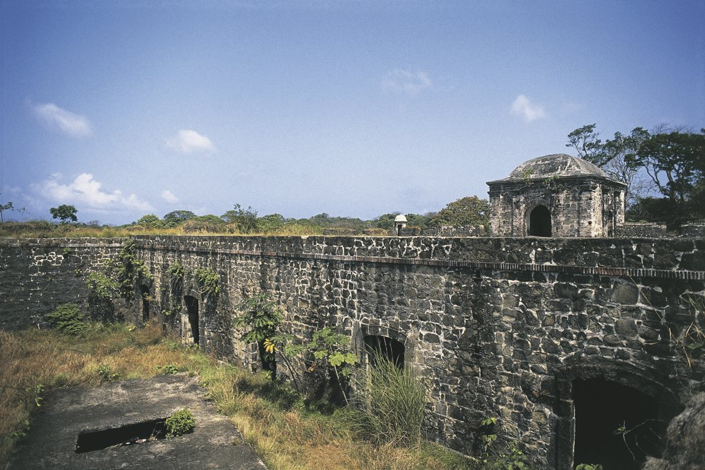 Stock Photo: 1788-3886 High angle view of an old fort, San Lorenzo Fort, Colon, Panama