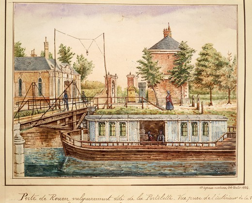 France, 19th century. A boat on river at Rouen gate, where Jacques Boucher de Perthes (1788-1868) started excavations at Abbeville. From a watercolor by O. Maqueron, August 24, 1856. : Stock Photo