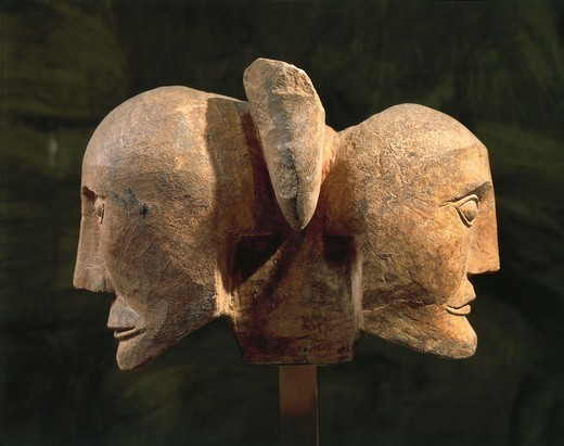 Stock Photo: 1788-39443 Celtic civilization, France, 3rd century b.C. Limestone opposed heads, from Roquepertuse.