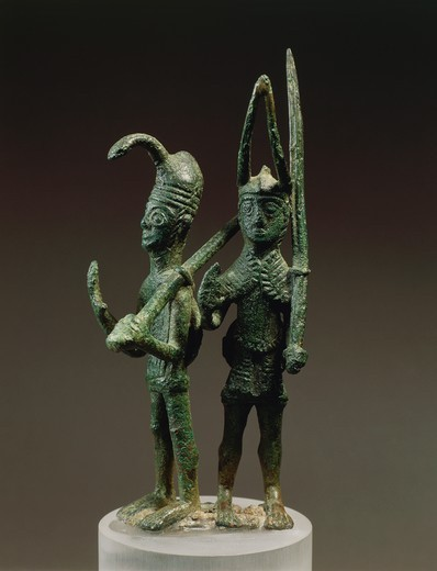 Stock Photo: 1788-39515 Nuragic civilization, 8th century b.C. Bronze group of two figures of warriors. From Abini, fraction of Teti, province of Nuoro.