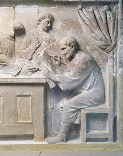 Stock Photo: 1788-39538 Gallo-Roman civilization, 2nd century A.D. Relief from a mausoleum depicting a tax collector.