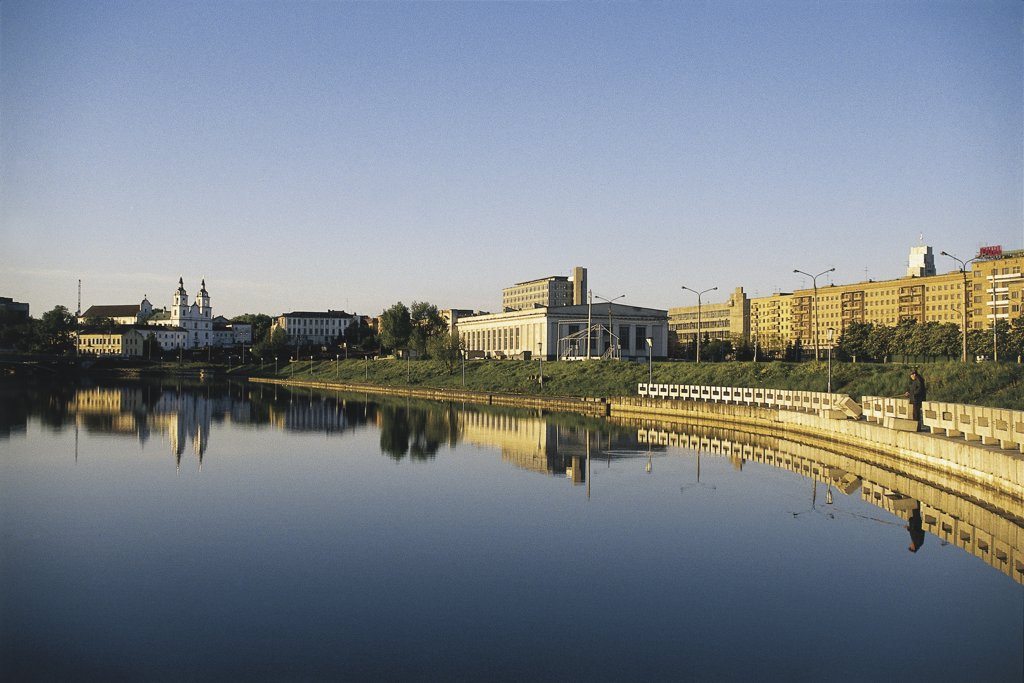 Stock Photo: 1788-3960 Buildings at the waterfront, Svisloch River, Minsk, Belarus