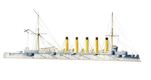 Naval ships - Imperial Russian Navy cruiser Askold, 1900. Color illustration : Stock Photo