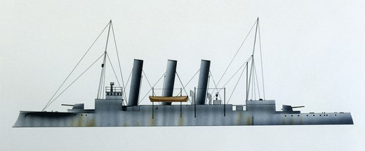 Stock Photo: 1788-40173 Naval ships - Royal Norwegian Navy protected cruiser KNM Frithjof, 1896. Color illustration