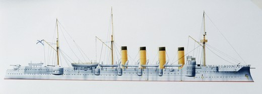 Stock Photo: 1788-40263 Naval ships - Russian Imperial Navy armored cruiser Gromoboy, 1899. Color illustration