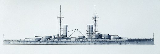 Naval ships - German Imperial Navy battleship SMS Grosser Kurf?rst, 1913. Color illustration : Stock Photo