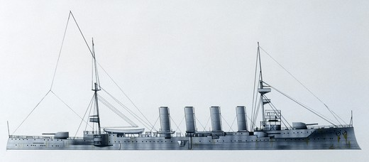Stock Photo: 1788-40297 Naval ships - British Royal Navy armored cruiser HMS Hampshire, 1903. Color illustration